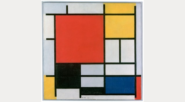 Composition with Large Red Plane, Yellow, Black, Grey, Blue, 1921