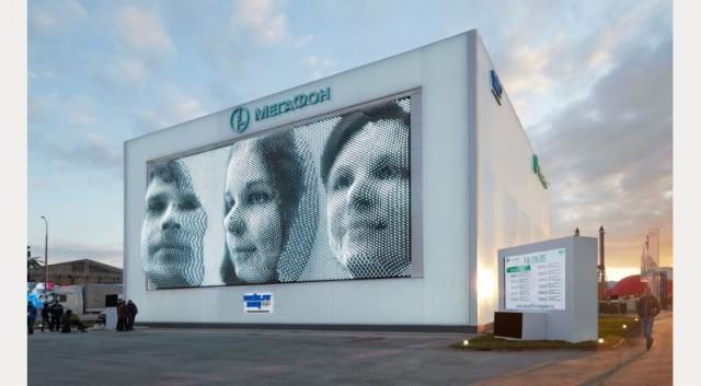 Megafaces pavilion and kinetic facade, Sochi winter olympics 2014, Asif Khan
